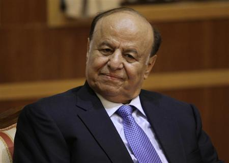 Yemeni President Abd-Rabbu Mansour Hadi is seen during meeting with U.N. special representative of the Secretary-General for Children and Armed Conflict Leila Zerrougui in Sanaa November 27, 2012. REUTERS/Mohamed al-Sayaghi