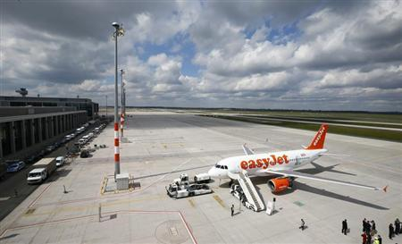 An easyJet Airbus A320 'Willy Brandt' is pictured during a name giving ceremony at the airport terminal of Berlin Brandenburg international airport Willy Brandt (BER) in Schoenefeld south of Berlin, April 23, 2012. REUTERS/Fabrizio Bensch