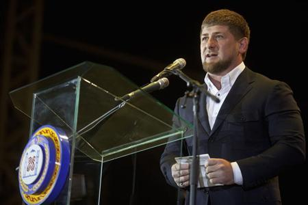 Chechen President Ramzan Kadyrov makes a speech during a ceremony to mark his 35th birthday in the Chechen capital Grozny October 5, 2011. REUTERS/Yelena Fitkulina