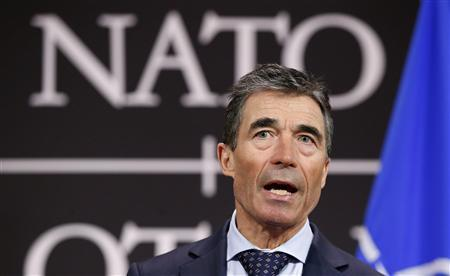 NATO Secretary General Anders Fogh Rasmussen addresses a news conference at the Alliance headquarters in Brussels March 18, 2013. REUTERS/Francois Lenoir