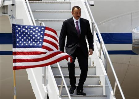 Azerbaijan President Ilham Aliyev arrives at O'Hare International Airport before the start of the NATO summit in Chicago May 19, 2012. REUTERS/Jeff Haynes
