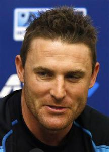 New Zealand's captain Brendon McCullum speaks during a media conference after the final day of the second cricket test against England was abandoned due to bad weather at the Basin Reserve in Wellington March 18, 2013. REUTERS/David Gray