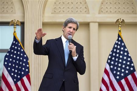 U.S. Secretary of State John Kerry speaks to U.S. embassy staff in Doha, March 6, 2013. REUTERS/Jacquelyn Martin/Pool