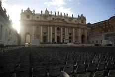 Chairs are in place in Saint Peter's Square at the Vatican, one day before Pope Francis' inaugural mass March 18, 2013. REUTERS/Paul Hanna