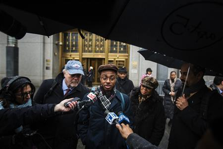Devin Almonor speaks to the media after testifying in the class-action lawsuit Floyd v. City of New York, regarding the New York Police Department's ''stop and frisk'' crime-fighting tactic, as he departs Manhattan Federal Court in New York, March 18, 2013. REUTERS/Lucas Jackson