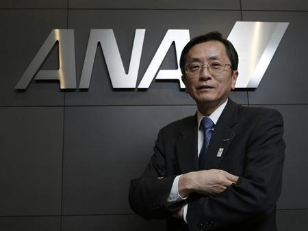 All Nippon Airways (ANA) Co's Senior Executive Vice President and next president Osamu Shinobe poses in front of the company logo after an interview with Reuters in Tokyo March 18, 2013. Boeing Co's goal to have its grounded 787 jets back in the air within weeks is a best-case scenario and too uncertain for the aircraft's biggest customer to plan the plane's operational return to service. All 50 of the technologically-advanced 787s in service have been idled since mid-January following two battery incidents at a U.S. airport and on a domestic flight in Japan. Boeing last week unveiled a new battery system and predicted the 787 would fly again within weeks rather than months. REUTERS/Toru Hanai