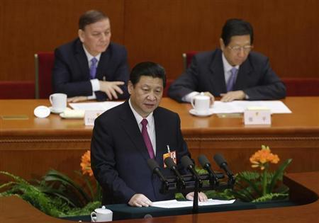 China's newly-elected President Xi Jinping delivers a speech during the closing session of the National People's Congress (NPC) at the Great Hall of the People in Beijing March 17, 2013. REUTERS/Jason Lee