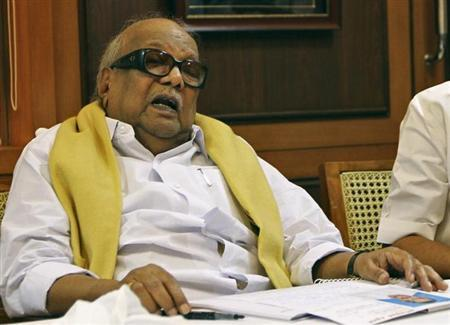 M. Karunanidhi,leader of Dravida Munnetra Kazhagam (DMK) party, speaks during a meeting at party headquarters in Chennai March 8, 2011. REUTERS/Babu/Files