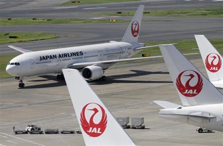 Japan Airlines aircrafts are seen on the tarmac at Haneda airport in Tokyo September 10, 2012. REUTERS/Toru Hanai