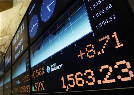 A board over the floor at the New York Stock Exchange shows the closing number for the S&P 500 index, March 14, 2013. REUTERS/Brendan McDermid
