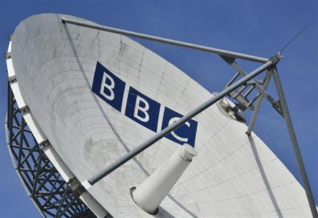 A satellite transmission dish is seen near BBC Television Centre at White City in London February 18, 2013. REUTERS/Toby Melville