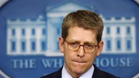 White House press secretary Jay Carney speaks to reporters at the White House in Washington February 28, 2013. REUTERS/Kevin Lamarque