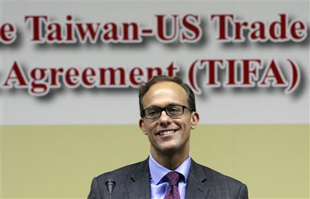 Deputy U.S. Trade Representative Demetrios Marantis smiles before the seventh round of U.S.-Taiwan talks under the Trade and Investment Framework Agreement (TIFA) begin at the Ministry of Economic Affairs in Taipei March 10, 2013. REUTERS/Pichi Chuang