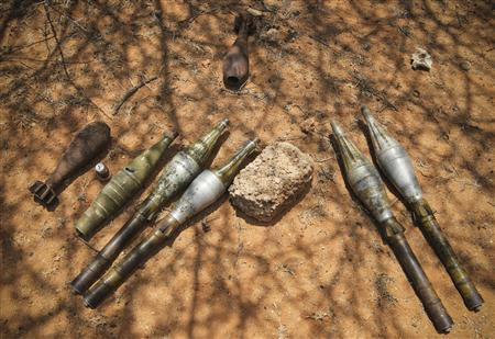 Unexploded ordinance including rocket propelled grenades and mortar shells left behind by the Al-Qaeda-affiliated extremist group Al Shabaab. REUTERS/AU-UN IST Photo/Stuart Price