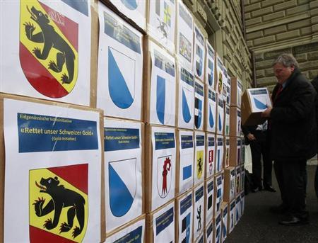 Boxes with signatures are seen before being submitted to support the initiative 'Save our Swiss gold' in Bern March 20, 2013. REUTERS/Ruben Sprich