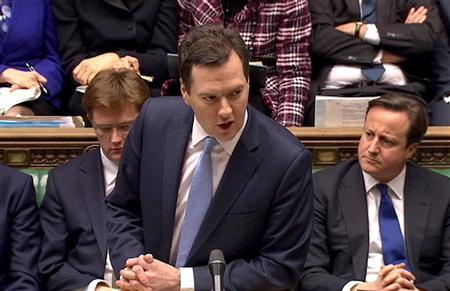 Britain's Chancellor of the Exchequer, George Osborne is seen delivering his budget to the House of Commons in this still image taken from video, in central London March 20, 2013. REUTERS/UK Parliament