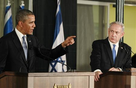 U.S. President Barack Obama (L) participates in a news conference with Israel's Prime Minister Benjamin Netanyahu in Jerusalem, March 20, 2013. REUTERS/Jason Reed