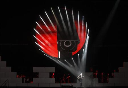 Pink Floyd co-founder and musician Roger Waters performs during the last show of his ''The Wall'' tour on the Plains of Abraham in Quebec City, July 21, 2012. REUTERS/Mathieu Belanger/Files