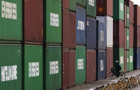 A man rides a bicycle next to containers at a port in Tokyo February 20, 2013.EUTERS/Yuya Shino