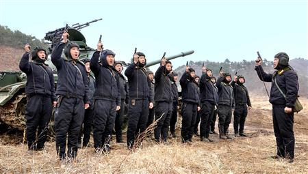 North Korean soldiers attend military drills in this picture released by the North's official KCNA news agency in Pyongyang March 20, 2013. KCNA said this picture was taken on March 20, 2013. REUTERS/KCNA