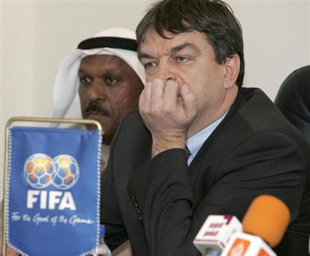 Jerome Champagne (R), FIFA's director for international relations, attend a meeting with Kuwaiti Clubs in Kuwait February 9, 2008. REUTERS/Tariq AlAli