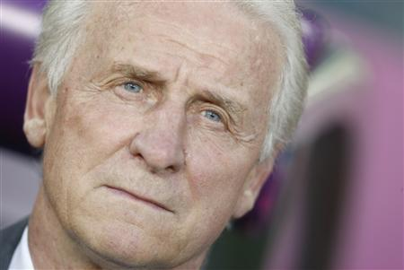 Ireland's coach Giovanni Trapattoni is pictured before the start of the Group C Euro 2012 soccer match against Italy at the city stadium in Poznan, June 18, 2012. REUTERS/Dominic Ebenbichler