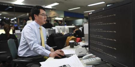 A computer is seen down after hacking at main office of broadcaster YTN in Seoul March 20, 2013. REUTERS/Handout/YTN