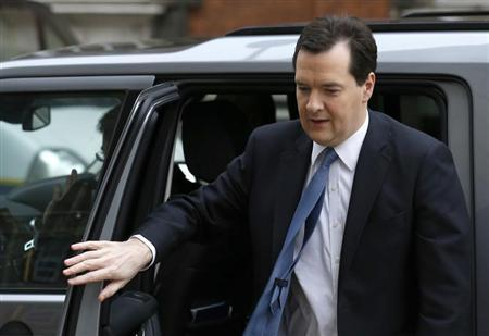 Britain's Chancellor of the Exchequer, George Osborne, arrives at Millbank broadcast studios in central London March 21, 2013. REUTERS/Olivia Harris