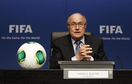 FIFA President Sepp Blatter attends a news conference at the Home of FIFA in Zurich, March 19, 2013. REUTERS/Michael Buholzer