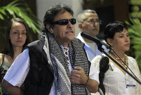 Revolutionary Armed Forces of Colombia (FARC) negotiator Jesus Santrich speaks to the media before the start of talks in Havana March 11, 2013. REUTERS/Enrique De La Osa