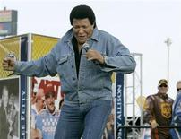 Recording artist Chubby Checker performs before the running of the NASCAR Sprint Cup Series 50th Daytona 500 race at the Daytona International Speedway in Daytona Beach, Florida February 17, 2008. REUTERS/Frank Polich