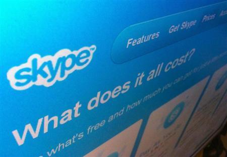A page from the Skype website is seen in Singapore May 10, 2011. REUTERS/David Loh