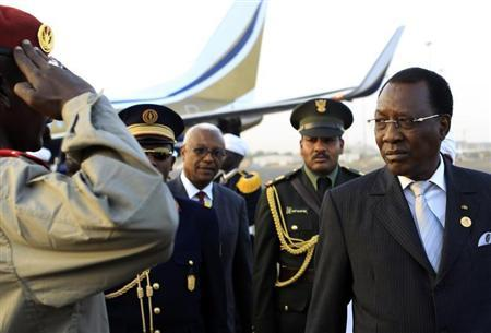 Chad President Idriss Deby arrives at Khartoum Airport on an official visit February 7, 2013. REUTERS/Mohamed Nureldin Abdallah