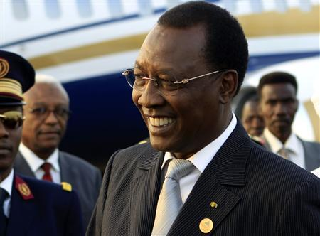 Chad president Idriss Deby smiles after arriving at Khartoum Airport on an official visit February 7, 2013. REUTERS/Mohamed Nureldin Abdallah