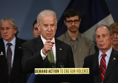 U.S. Vice President Joseph Biden is joined by New York City Mayor Michael R. Bloomberg (R) during a news conference at City Hall in New York, March 21, 2013. REUTERS/Brendan McDermid