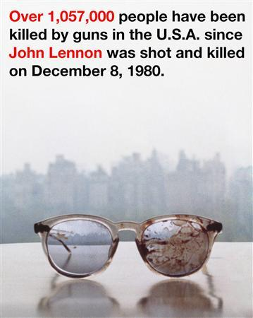 The eyeglasses John Lennon was wearing at the time he was shot and killed by Mark David Chapman in New York City are seen in a Twitter photo posted by his widow Yoko Ono March 20, 2013. REUTERS/@yokoono via Twitter/Handout