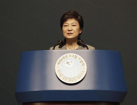 South Korea's President Park Geun-hye speaks during a ceremony celebrating the 94th anniversary of the March First Independence Movement against Japanese colonial rule in Seoul March 1, 2013. REUTERS/Ahn Young-joon/Pool