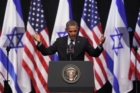 U.S. President Barack Obama gestures during his address to Israeli students at the International Convention Center in Jerusalem March 21, 2013. REUTERS/Baz Ratner