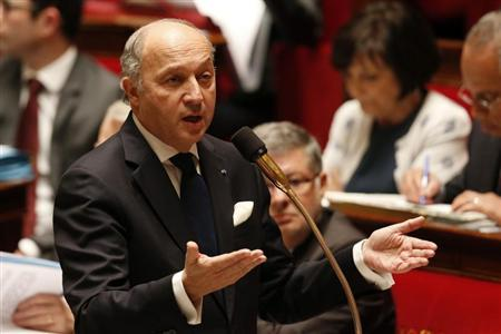 France's Foreign Affairs Minister Laurent Fabius speaks during the questions to the government session at the National Assembly in Paris March 20, 2013. REUTERS/Benoit Tessier