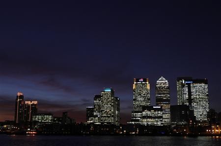 A general view shows the Canary Wharf financial district in east London January 12, 2012. REUTERS/Eddie Keogh