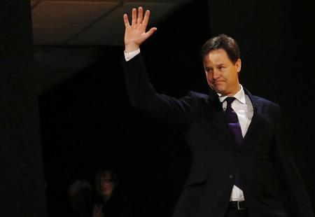 Deputy Prime Minister and leader of the Lib Dems, Nick Clegg, arrives to deliver his keynote speech at the party's spring conference in Brighton, southern England March 10, 2013. REUTERS/Luke MacGregor