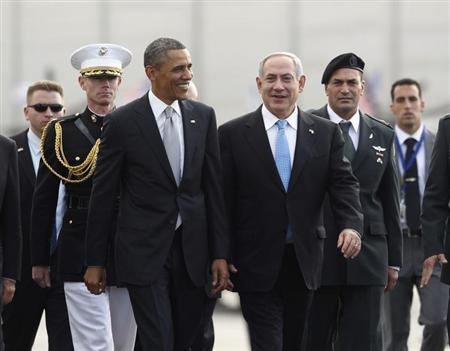 U.S. President Barack Obama (front L) participates in a farewell ceremony with Israeli Prime Minister Benjamin Netanyahu (front R) at Tel Aviv International Airport March 22, 2013. REUTERS/Jason Reed