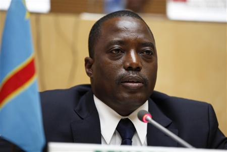 Democratic Republic of Congo President Joseph Kabila attends the signing ceremony of the Peace, Security and Cooperation Framework for the Democratic Republic of Congo and the Great Lakes, at the African Union headquarters in Ethiopia's capital Addis Ababa Feburary 24, 2013. REUTERS/Tiksa Negeri
