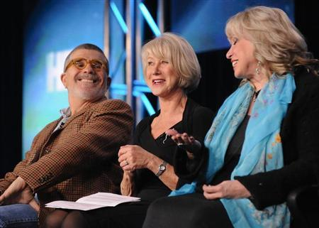 (L-R) Writer, director and executive producer David Mamet, British actress Helen Mirren and lawyer and consultant Linda Kenney Baden take part in a panel discussion of HBO's ''Phil Spector'' during the 2013 Winter Press Tour for the Television Critics Association in Pasadena, California, January 4, 2013. REUTERS/Gus Ruelas/Files