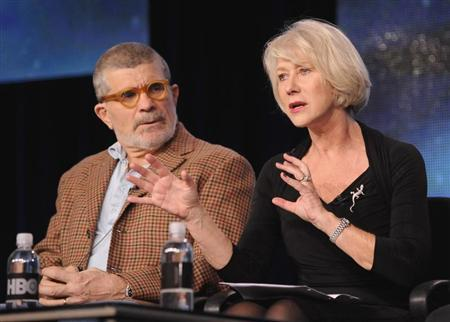 Writer, director and executive producer David Mamet (L) and British actress Helen Mirren take part in a panel discussion of HBO's ''Phil Spector'' during the 2013 Winter Press Tour for the Television Critics Association in Pasadena, California January 4, 2013. REUTERS/Gus Ruelas