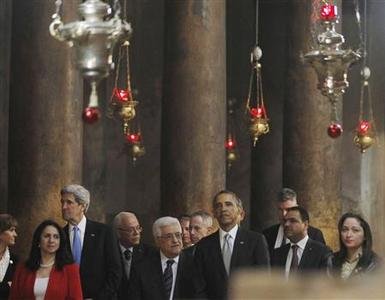 U.S. President Barack Obama (4th R) tours the Church of the Nativity in Bethlehem with Palestinian President Mahmoud Abbas (C), Secretary of State John Kerry (3rd L) and Bethlehem Mayor Vera Baboun (2nd L), March 22, 2013. REUTERS/Jason Reed