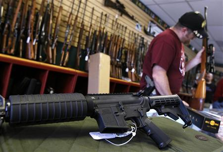 A Palmetto M4 assault rifle is seen at the Rocky Mountain Guns and Ammo store in Parker, Colorado July 24, 2012. REUTERS/Shannon Stapleton