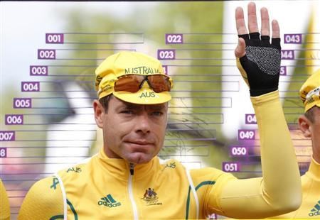 Australia's Cadel Evans gestures before the men's cycling road race at the London 2012 Olympic Games July 28, 2012. REUTERS/Phil Noble
