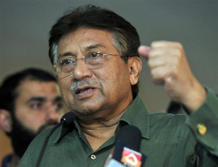 Former President of Pakistan Pervez Musharraf gestures during a news conference in Dubai, March 23, 2013. REUTERS/Mohammad Abu Omar