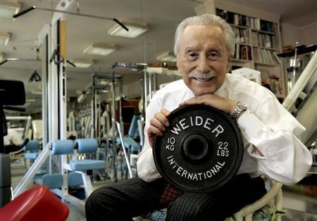 Legendary publisher, promoter and weightlifter Joe Weider, who created the Mr. Olympia contest and who brought California Governor Arnold Schwarzenegger to the U.S., poses for a portrait at his home in Los Angeles November 15, 2006. REUTERS/Robert Galbraith